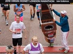 Man in Big Ben costume gets stuck under London Marathon finishing arch