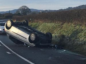 An impage posted by police of the overturned car. Picture: OPU Shropshire