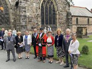 Councillor Mark Jones and Mayoress Ruth Jones, centre with civic dignatories from across Shropshire