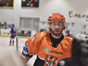 Telford Tigers v Peterborough Phantoms11/3/20 by Steve BrodieScott Mckenzie heads back to the bench after scoring