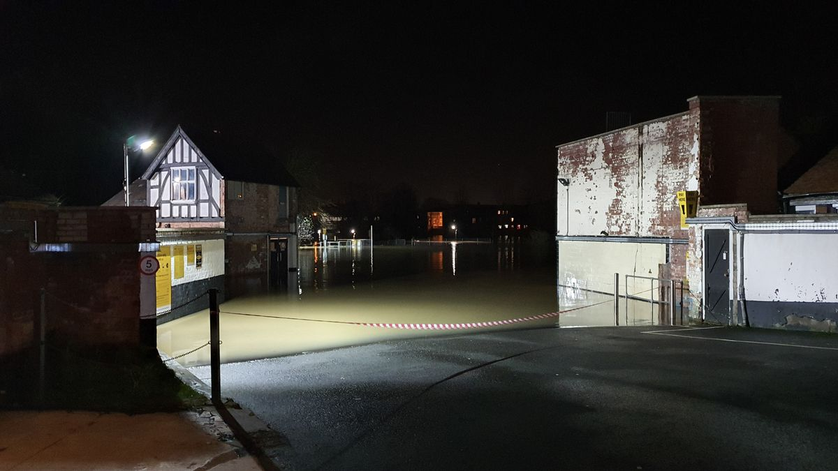 Flooding in Shrewsbury. Photo: Owain Betts