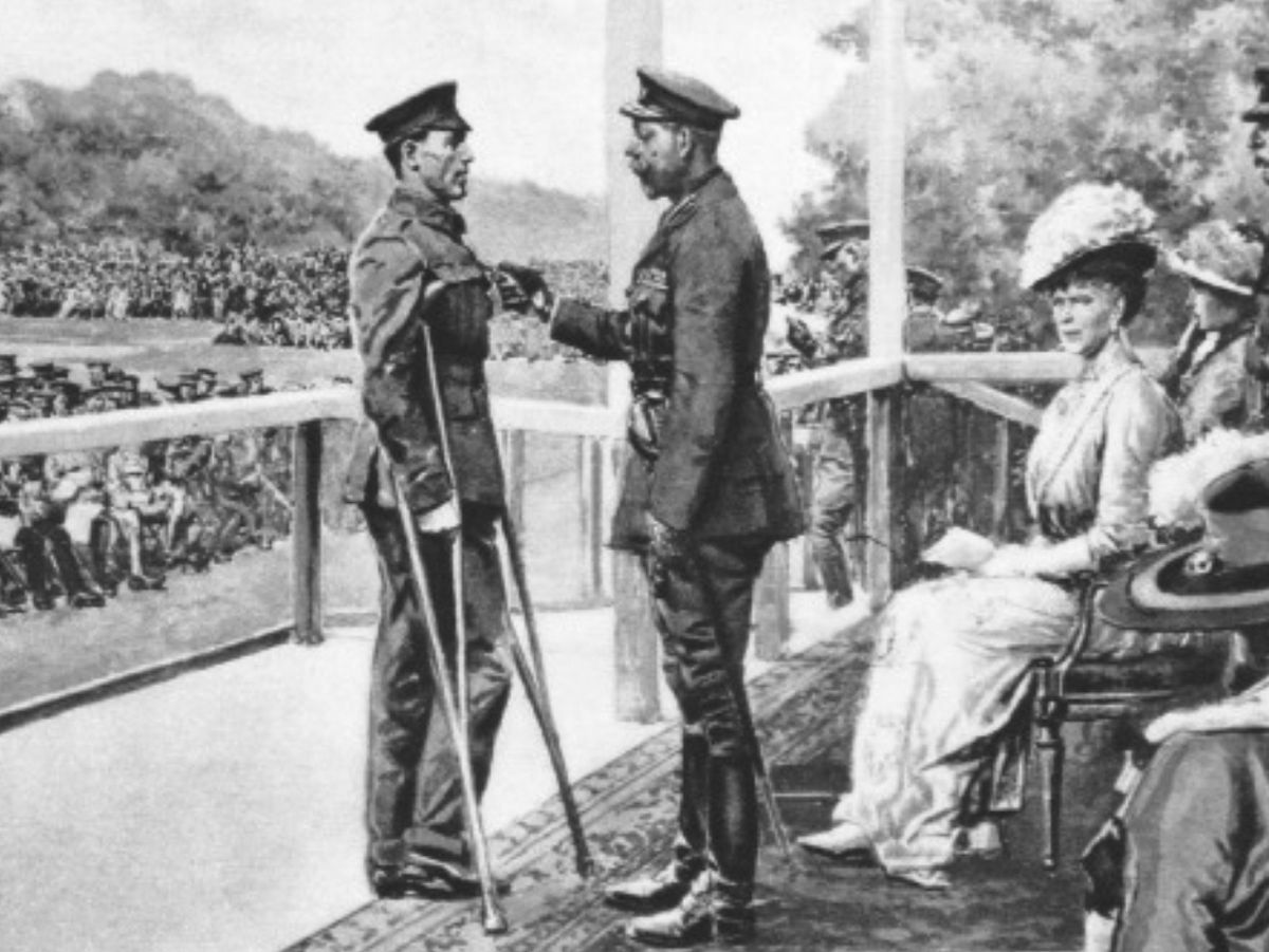 Hughes received his Victoria Cross from King George V while on crutches – he would never walk properly again.