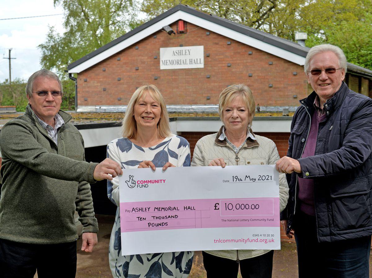 Pictured left, Gareth Danks, Nicki Craig, Linda and George Herbert from the Ashley Memorial Hall in Market Drayton