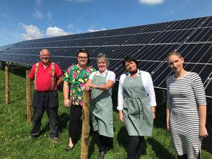 Staff at Apley Farm Shop Village, at Norton, near Bridgnorth, where solar panels have been installed