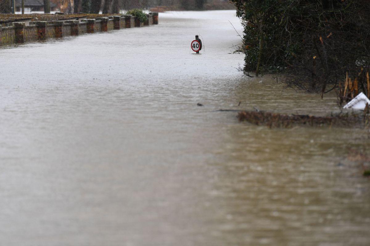 Flooding in Gravel Hill Lane, Shrewsbury