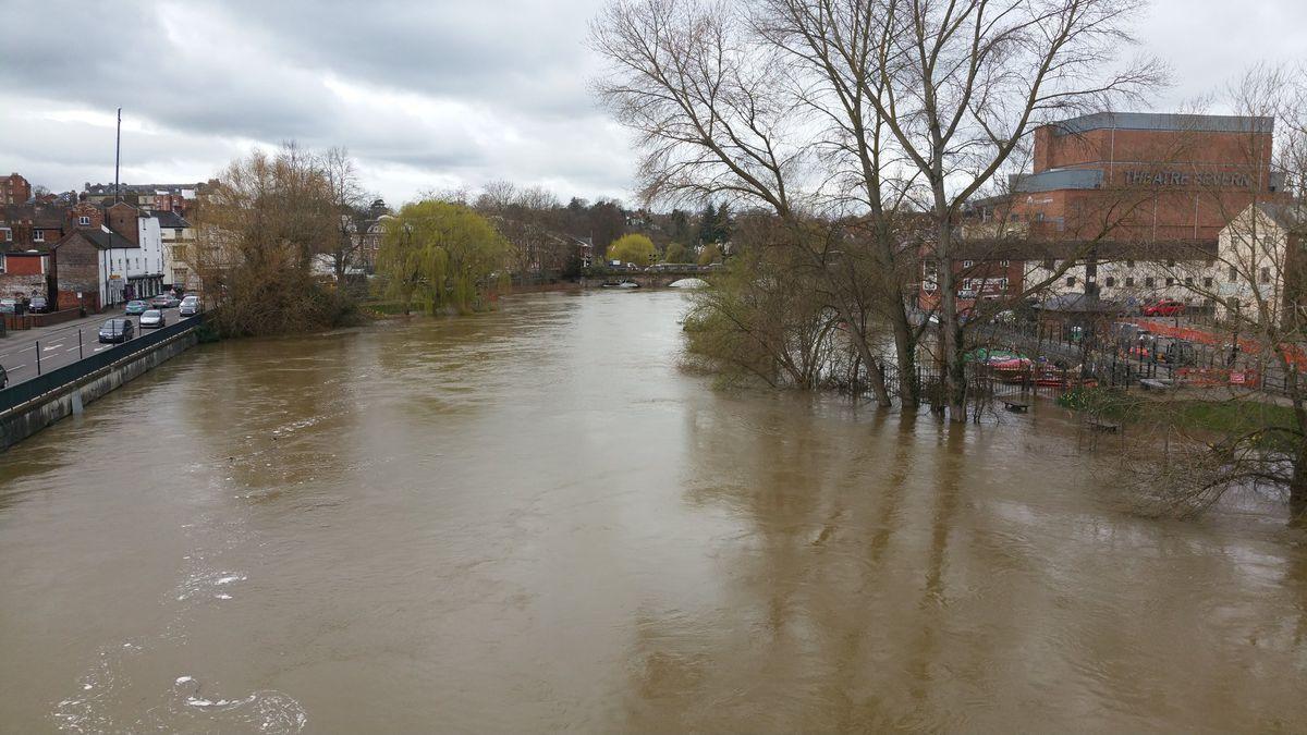 The river level creeps up towards Smithfield Road in Shrewsbury. Photo: Tim Vasby-Burnie