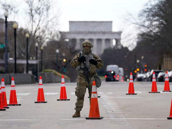 A National Guardsman stands near the US Supreme Court