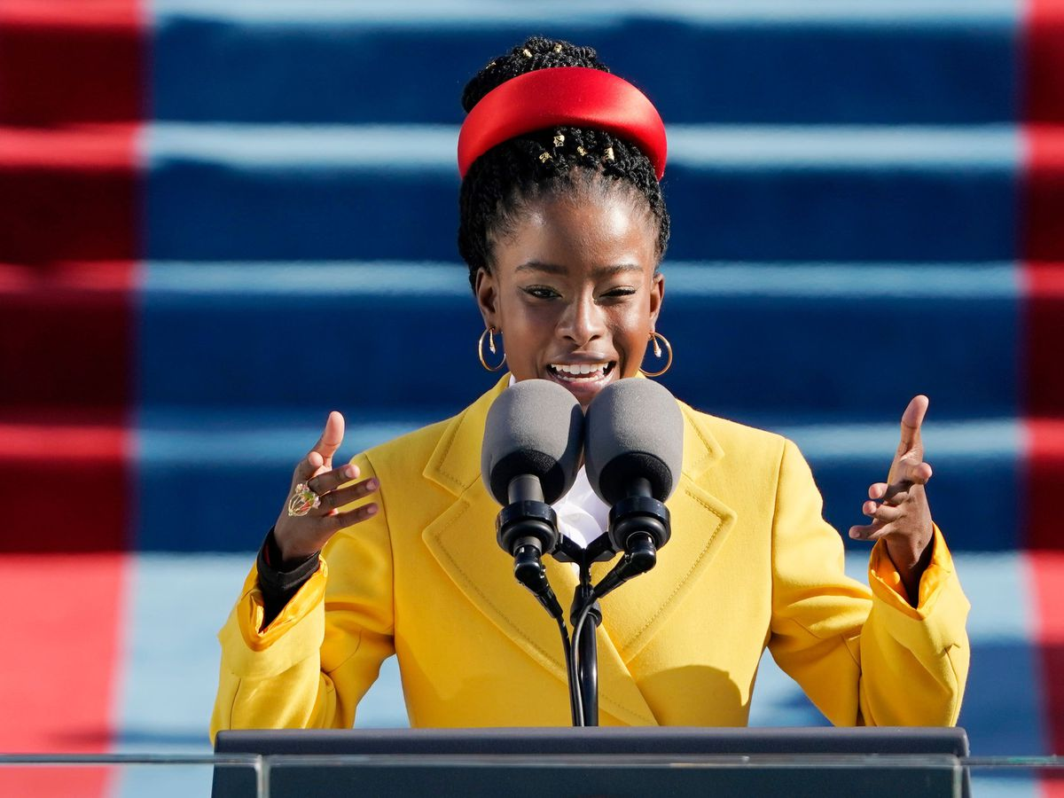 American poet Amanda Gorman reads a poem during the 59th presidential inauguration at the US Capitol in Washington