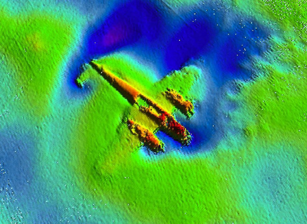 The Dornier in its watery grave where it lay for 70 years