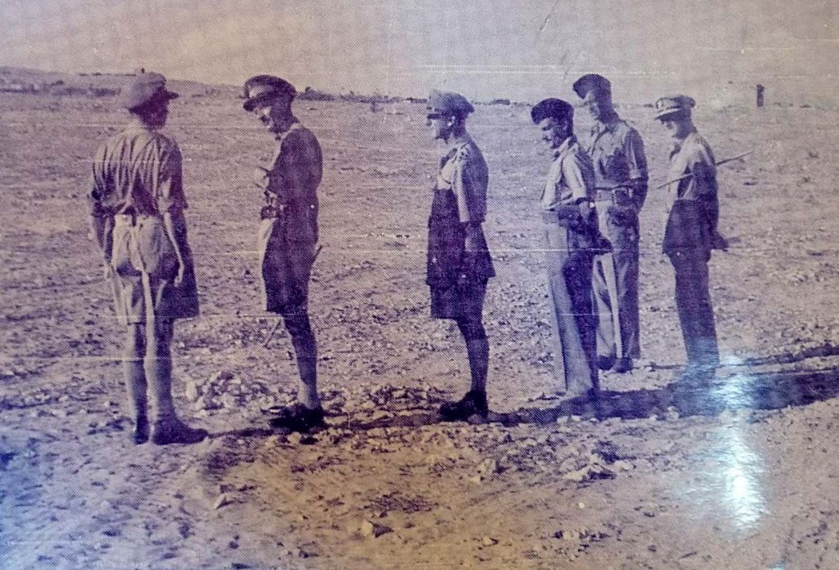A treasured photograph taken on the eve of the Battle of El Alamein in 1942. Stan is pictured one person in from the right, on the occasion when he met General Montgomery, second from left.