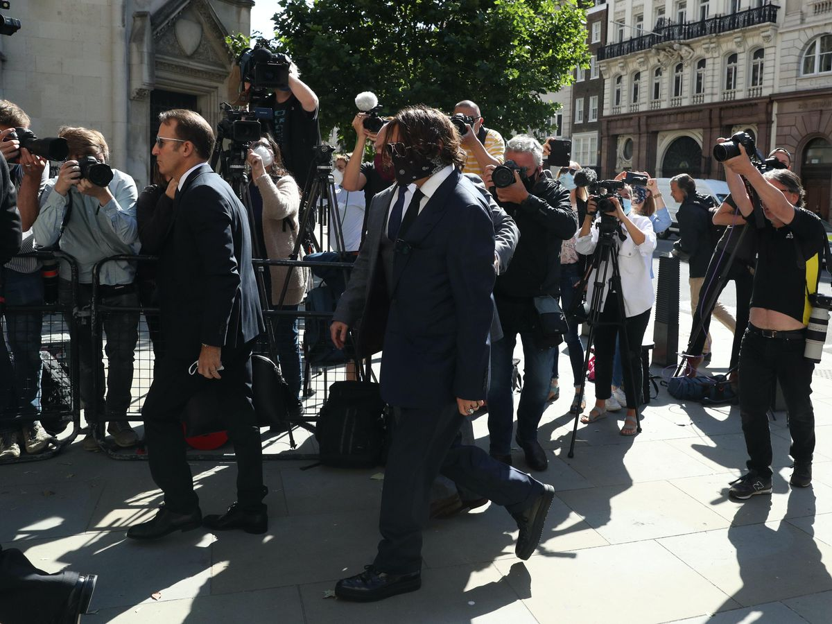 Johnny Depp arriving at the High Court