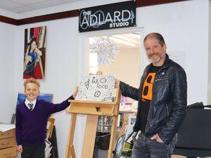 Joe Whale, aka Doodle Boy, with comic book artist Charlie Adlard