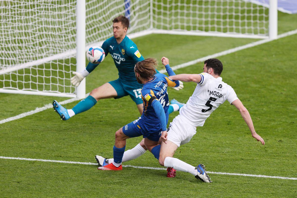 Harry Chapman of Shrewsbury Town has a shot at goal (AMA)