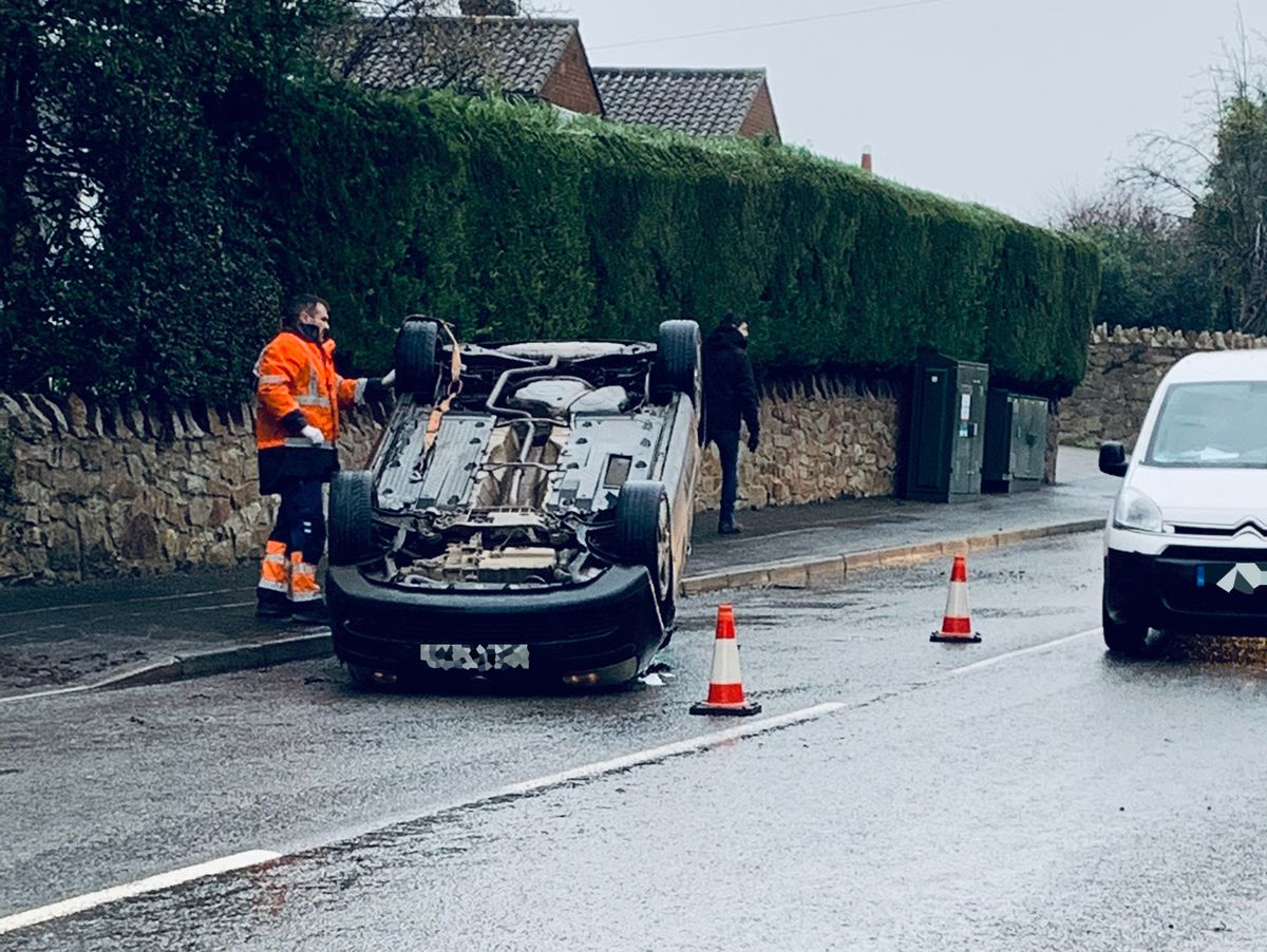 The aftermath of the crash in Pontesbury. Photo: David Charles