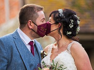 The couple had personalised masks