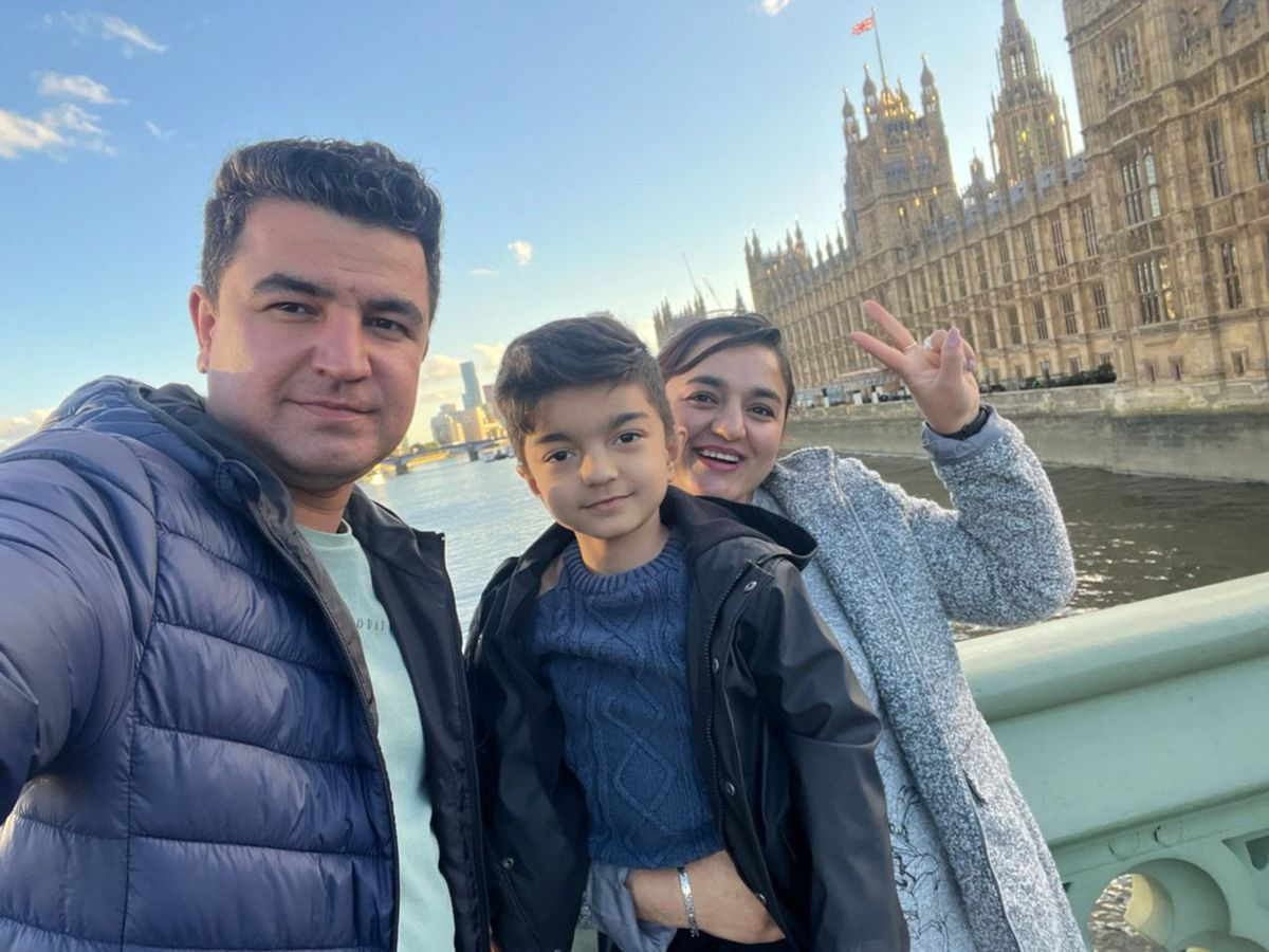 Burhan Vesal with his wife and son
