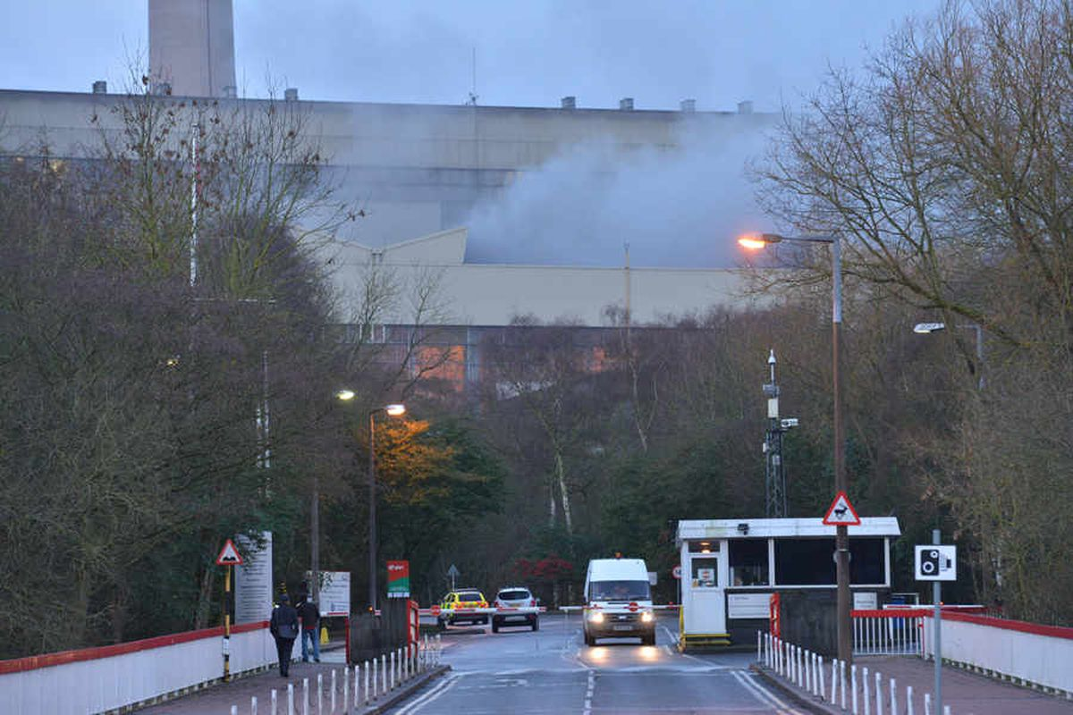 Smoke can be seen pouring out of the power station this morning