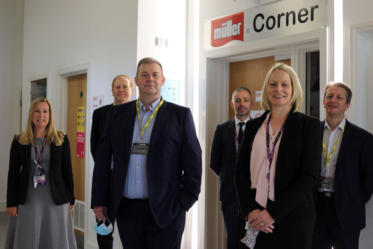 Members of the Muller leadership team with Telford College staff, Beckie Bosworth, Rob Lees and Sue Gomer.
