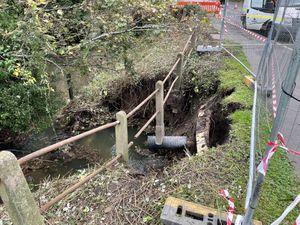The work has begun to repair the collapsed embankment near the A454 Bridgnorth Road in Wightwick