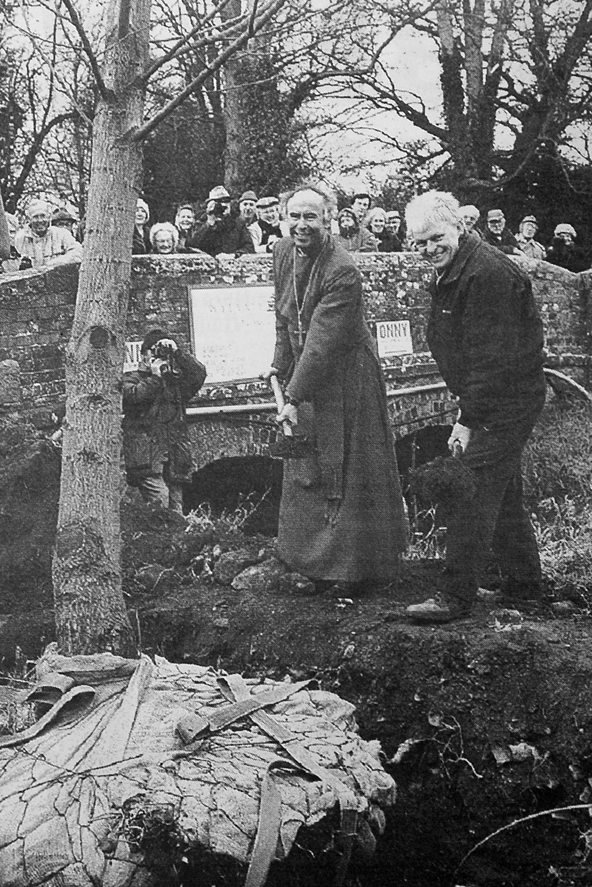 A new black poplar is planted to save the tradition in December 1995. At the ceremony were the Bishop of Ludlow the Right Rev John Saxbee and Roy Lancaster, the television gardener.