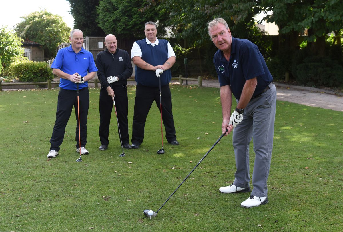 Wolverhampton Wanderers former players golf day at Oxley Golf Club. Steve Daley with Neil Watkins, Chris Walker and Andy King.