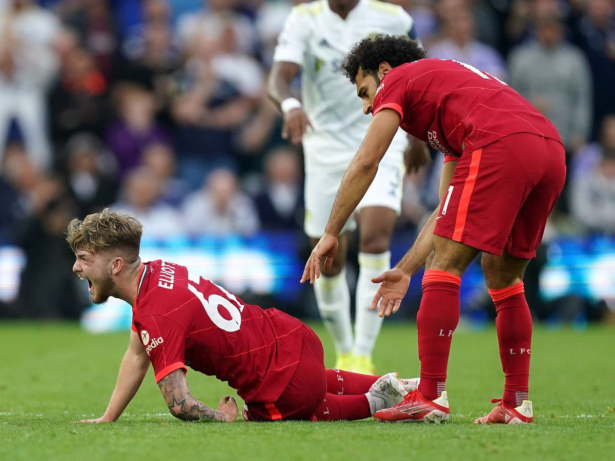 Harvey Elliott was in distress after being injured in a challenge with Pascal Struijk on Sunday