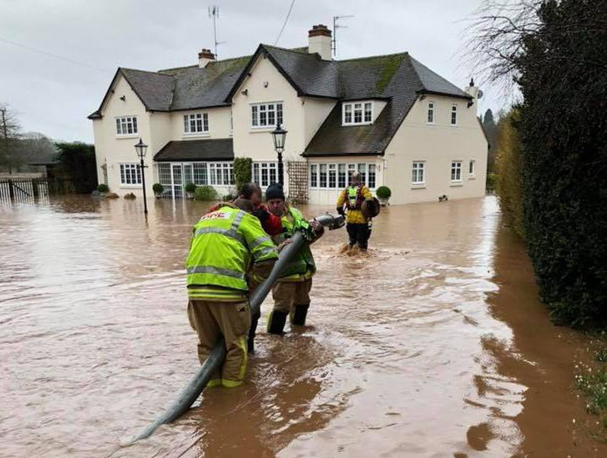 Flooding on the A442 at Danesford, near Bridgnorth, during Storm Dennis. Photo: Bridgnorth Fire Station