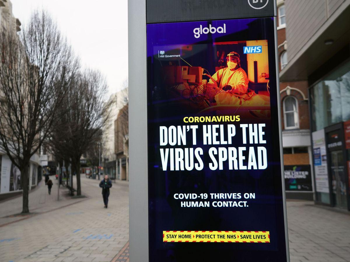 Coronavirus warnings on electronic boards in Nottingham