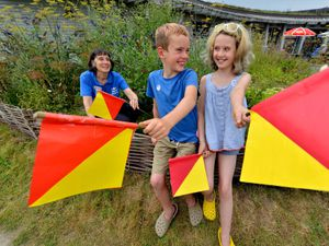 Henry Bell, 8, Molly Bell, 10, from Church Stretton at Shropshire Hills Discovery Centre