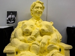 A butter sculpture of Justin Trudeau and some pandas is taking the internet by storm