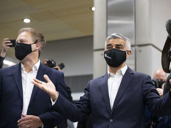 Mayor of London Sadiq Khan and Transport Secretary Grant Shapps at the newly opened Battersea Power Station London Underground station, south London