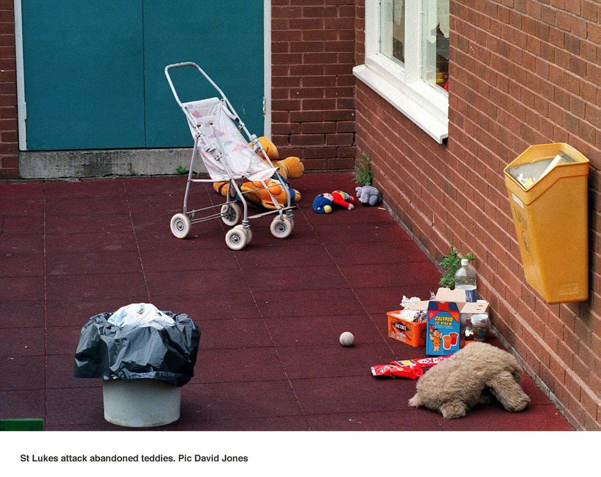 The poignant scene after the attack. Picture: David Jones.