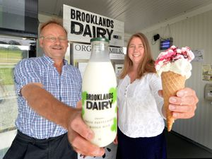 BORDER PIC MNA PIC  DAVID HAMILTON PIC  SHROPSHIRE STAR 4/8/21 Diversifying and turning the farms milk into geleto,  co-owners Paul Hickson, and Helen Austin, at Brooklands Dairy, Dudleston..