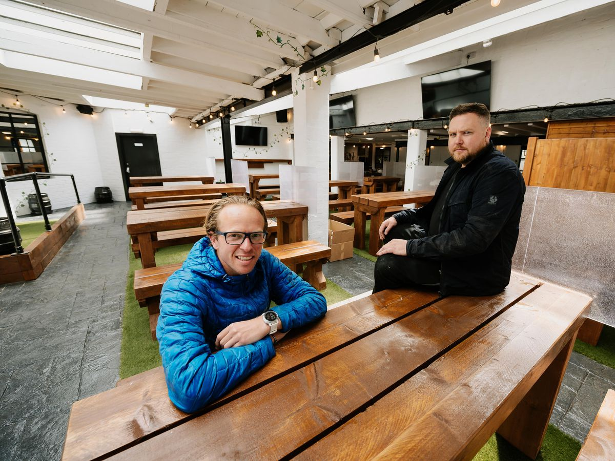 Ollie Parry and Kev Rippard in the new indoor beer garden at The Salopian Bar