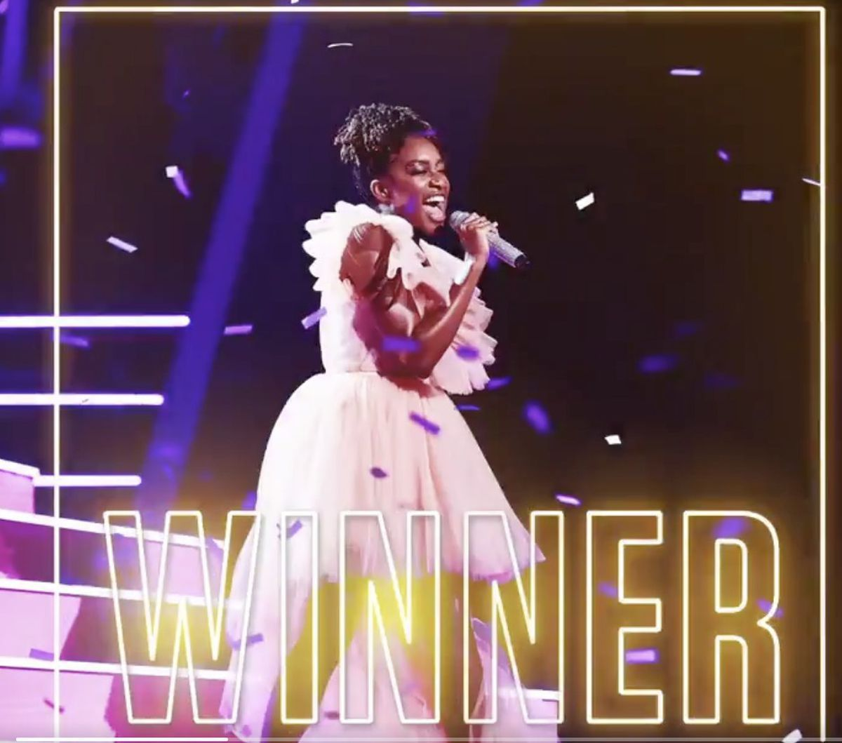 Blessing Chitapa is crowned winner of The Voice. Photo: @thevoiceuk