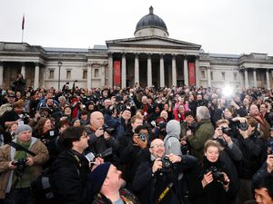 Photographers take pictures in London's Trafalgar Square during a mass gathering in protest at stop and search action by police. PRESS ASSOCIATION Photo. Picture date: Saturday January 23, 2010. The demonstration is organised by the group 'I'm a Photographer, Not a Terrorist!'. See PA story PROTEST Photographers. Photo credit should read: Fiona Hanson/PA Wire