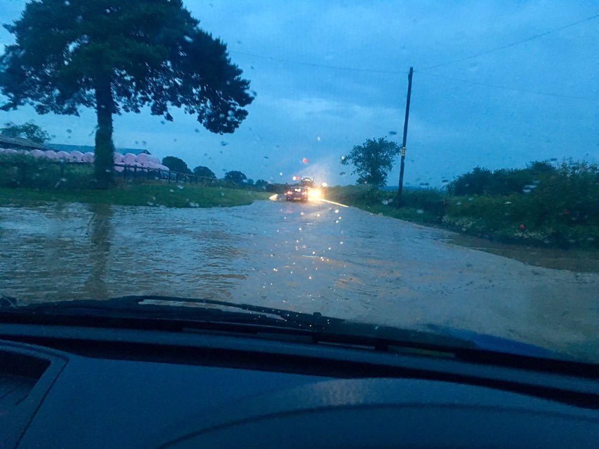 Flooding on the A49 near Onibury on Thursday evening