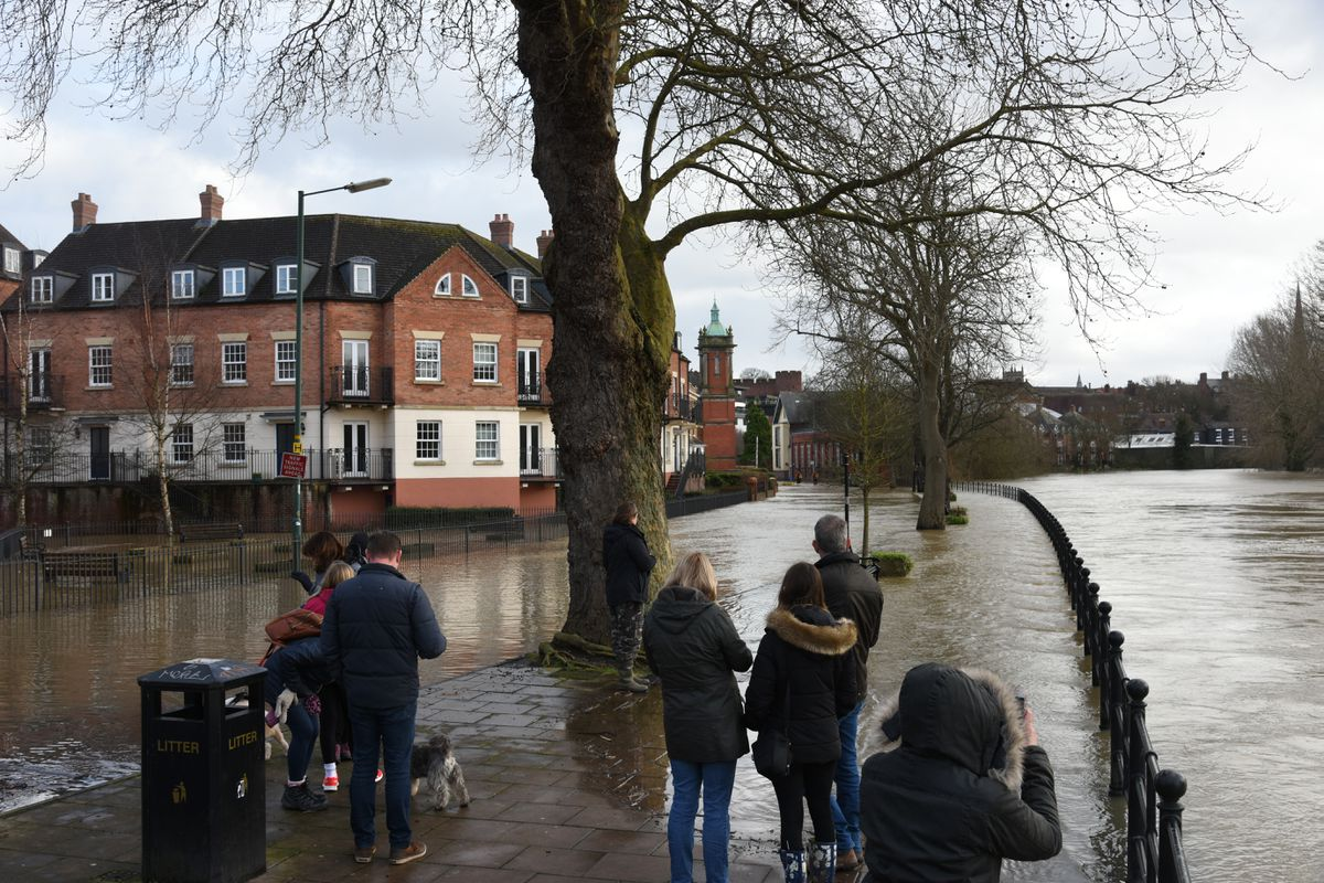 Flooding in Coton Hill, Shrewsbury, on Monday afternoon. Photo: Russell Davies