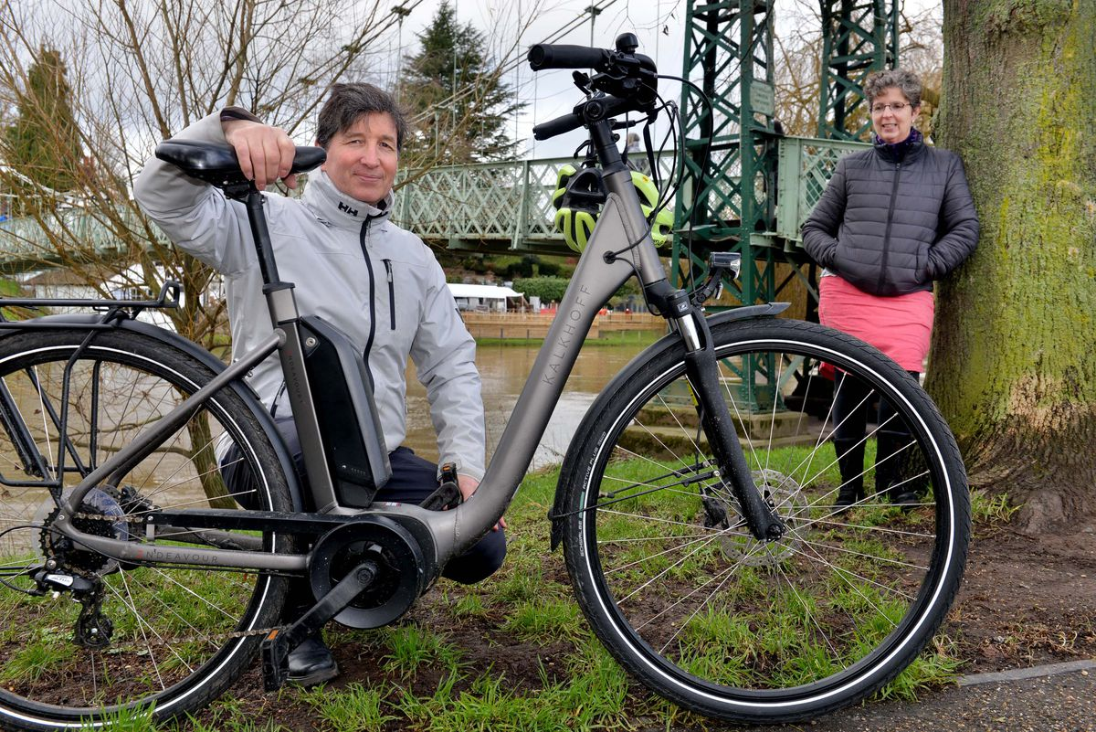 Mark Fermor, director of the Zero Carbon Shropshire project, and Sue Burnell, programme manager, showing a greener way to travel via electric bike