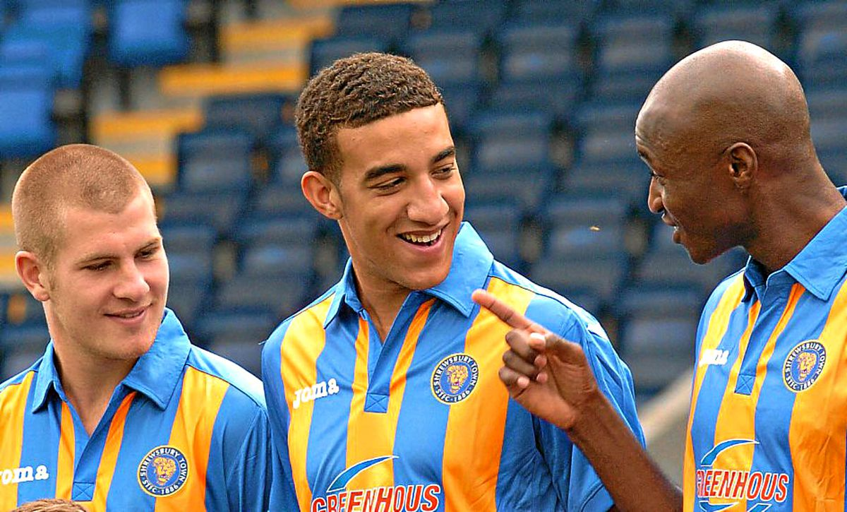 Marvin Morgan, right, enjoying a joke with Connor Goldson and James Collins during a Town photocall