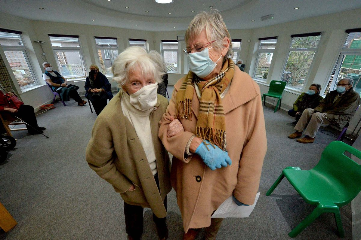 Alison Holmes, 91, and her helper Brenda Clabon in Church Stretton