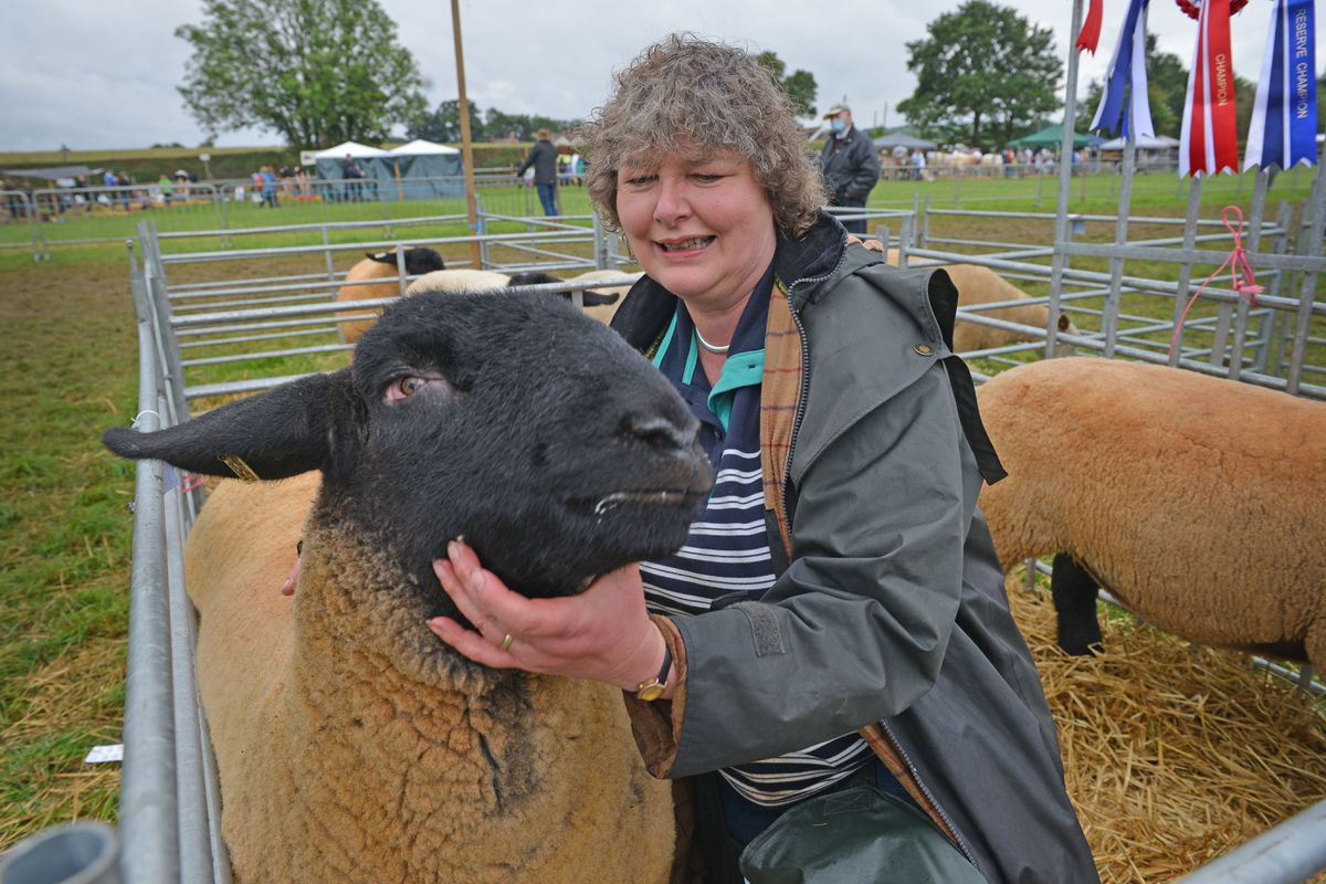 Helen Roberts with the overall champion sheep