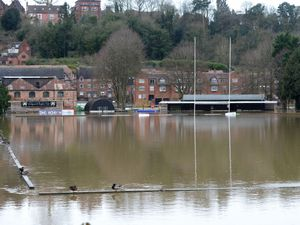 LAST COPYRIGHT EXPRESS&STAR TIM THURSFIELD- 19/02/20.Scenes in Bridgnorth today after the severe flooding. Bridgnorth Rugby Club completely flooded..WITH VIDEO..