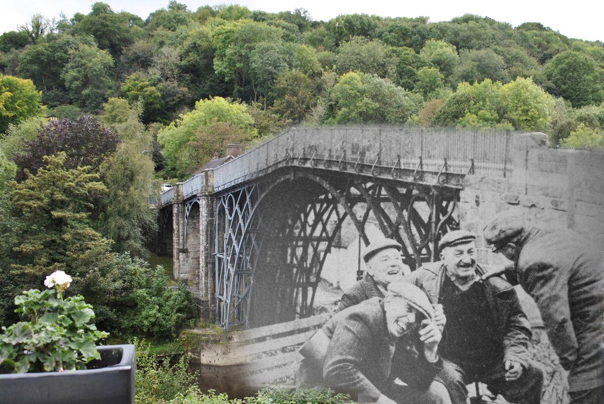Men laugh in this image of the Iron Bridge