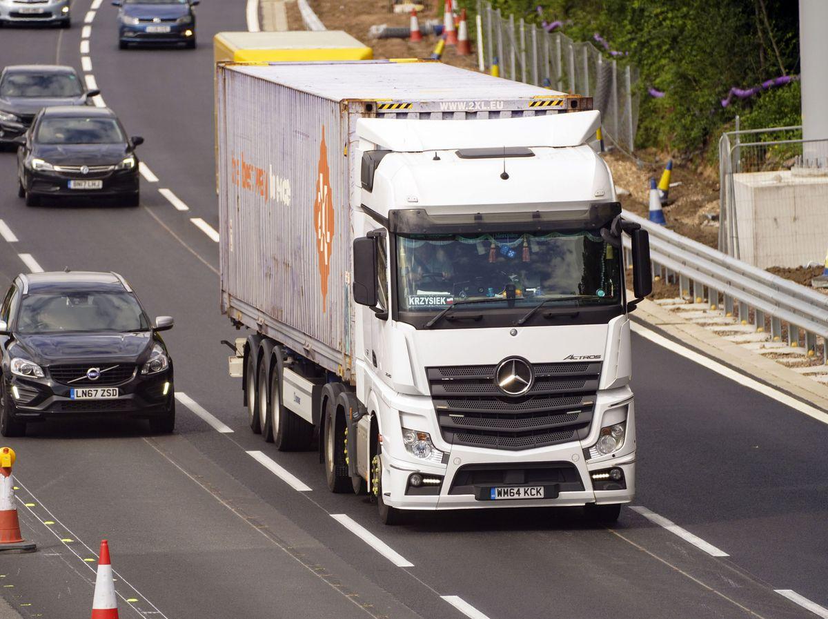 HGV lorry on the M4 motorway