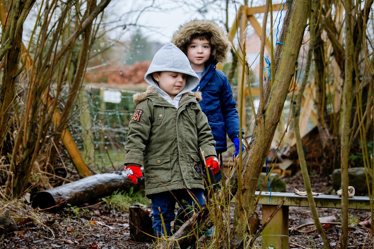 Tilstock Primary School in Whitchurch - Isaac Barrett, 4, and James Pitt, 4
