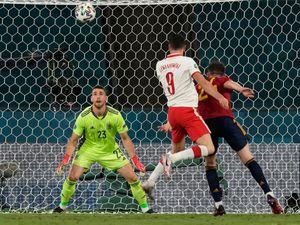 Poland's Robert Lewandowski (centre) scored against Spain in Euro 2020