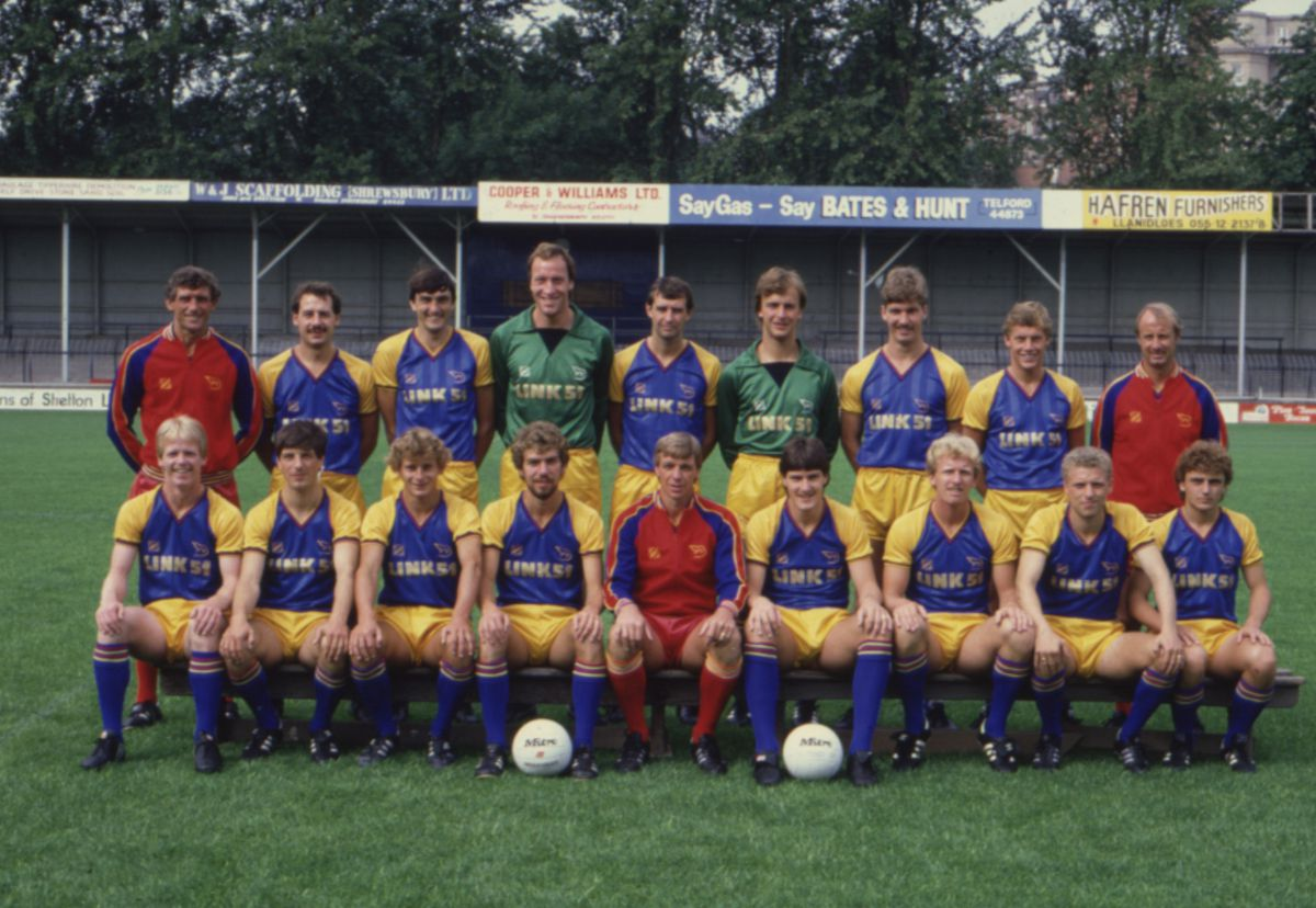 Goalkeeper Steve Perks, pictured back row, four from right, in the 1983/84 Shrewsbury Town squad photocall