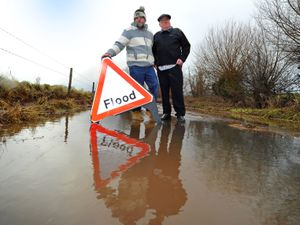 Derek Baldwin and son Andrew are fed up with flooding problems on Chesterton Road, Pattingham
