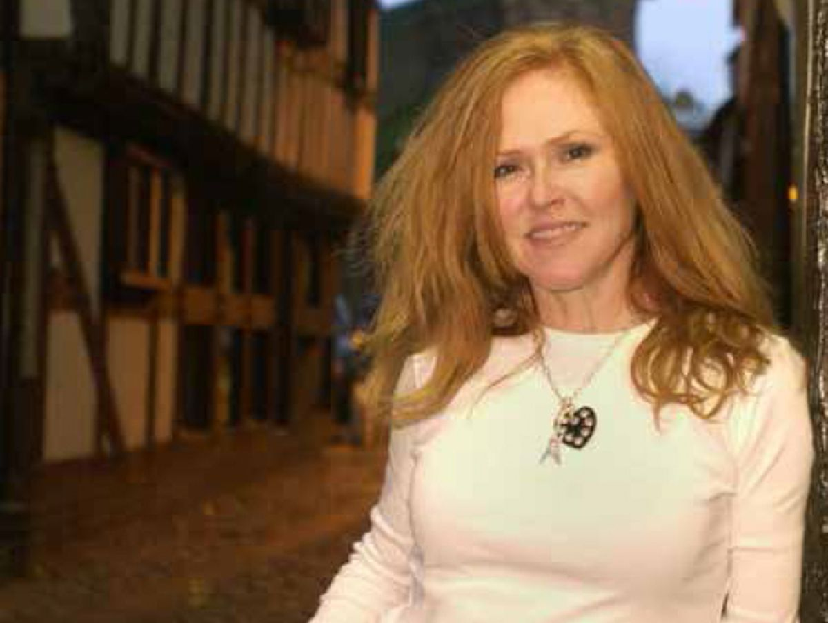 Carol Decker of T'Pau back in Shrewsbury. Picture taken direct from her autobiography Heart And Soul (which should be credited). This was taken near the Three Fishes pub, where she was a barmaid for a while..